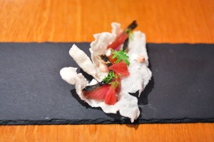 atelier crenn mackerel rice cracker