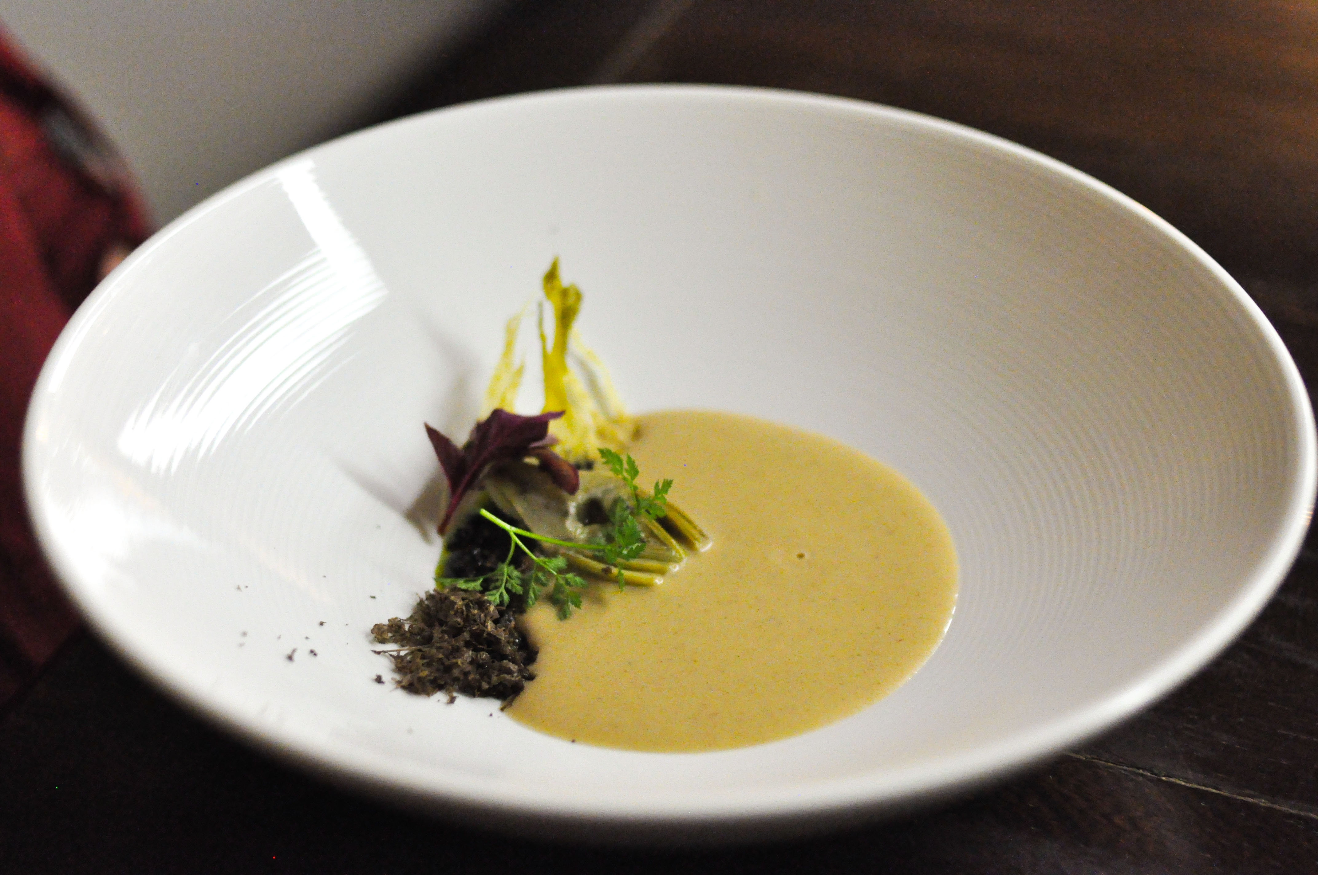 Roasted Sunchoke & Caramelized Yogurt Soup. With black garlic, black ...