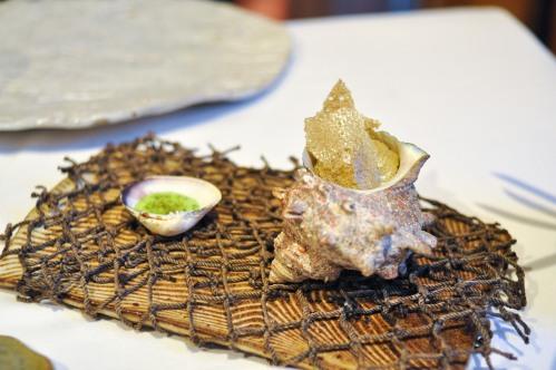 aubergine carmel kelp chips and dip