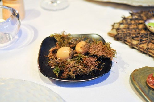 aubergine carmel quail egg