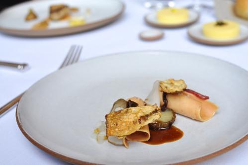 emp cured foie gras sunchokes mustard greens