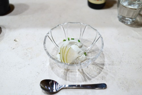 okonomi shiso tofu pear panna cotta